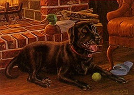 """A Warm Fire, A Ball And Thee"" - Black Lab by Wildlife Artist Randy McGovern"