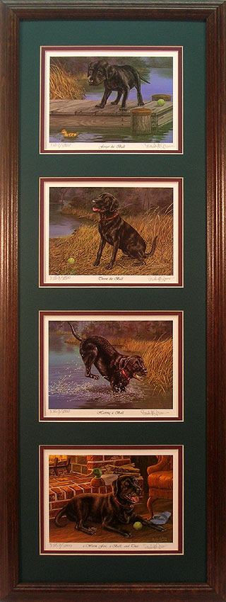 Set of 4 Black Labrador Retriever prints by Randy McGovern
