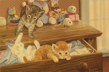 """Chest of Paws"" Kittens by wildlife artist Randy McGovern"