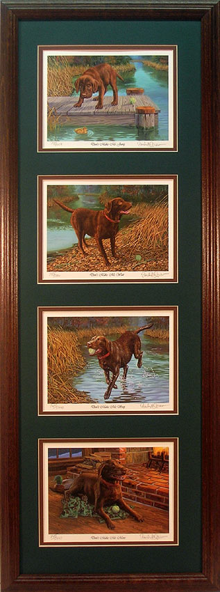 Framed set of 4 Chocolate Lab prints by Randy McGovern