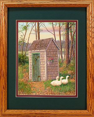 """Discount Plumbing"" - Country Outhouse by Artist Randy McGovern"