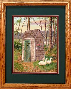 """Discount Plumbing"" - Country Outhouse by Randy McGovern"