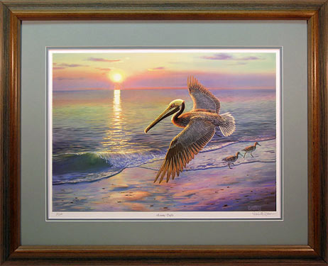 """Evening Traffic"" - Brown Pelican print by wildlife artist Randy McGovern"