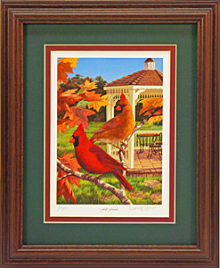 """Fall Friends"" - Cardinal by wildlife artist Randy McGovern"