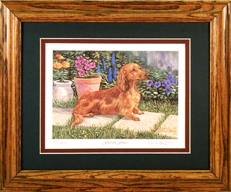 """Fluff & Flowers"" - Red Longhaired Dachshund by Artist Randy McGovern"