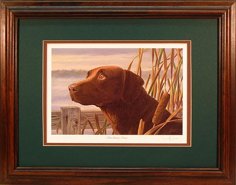 """Fowl Weather Friend"" - Chocolate Lab art by Randy McGovern"