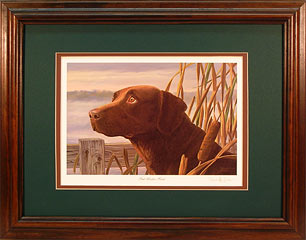 """Fowl Weather Friend"" - Chocolate Lab by artist Randy McGovern"