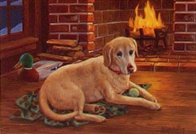 """Gaining Affection"" - Yellow Lab print by Randy McGovern"