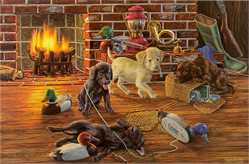 """Good Sports"" - Labrador puppies by artist Randy McGovern"