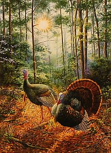 """Hitting The Trail"" - Wild Turkeys by wildlife artist Randy McGovern"