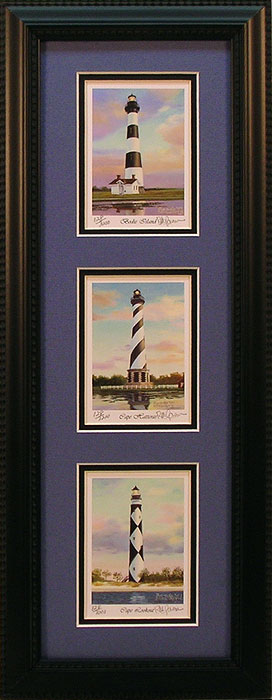 """Bodie, Hatteras and Lookout Lights"" - North Carolina lighthouses by Artist Randy McGovern"