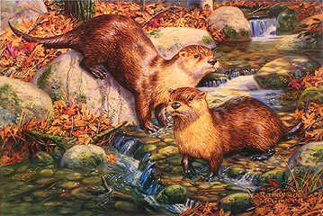 """Otter Nonsense"" - Otters by wildlife artist Randy McGovern"