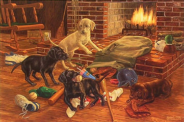 """Play Ball"" - Labrador puppies by artist Randy McGovern"