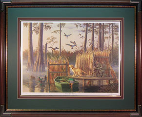 """Santee Cypress Memories"" - Mallards and Yellow Lab Duck Blind by artist Randy McGovern"