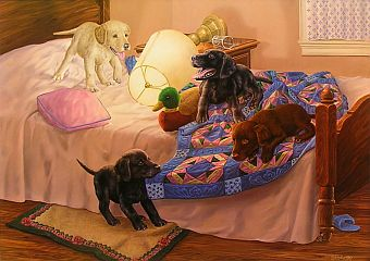 """Slumber Party"" - Lab puppies by artist Randy McGovern"