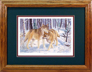 """Snugglers"" - Timberwolves by wildlife artist Randy McGovern"