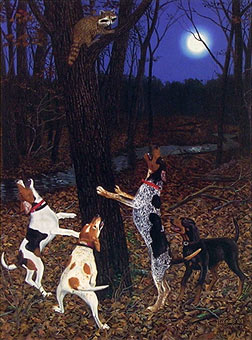 """The Right Tree"" - Coon Dogs by artist Randy McGovern"