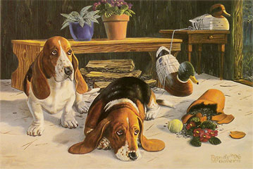 """We're So Sorry"" - Bassett Hounds by artist Randy McGovern"