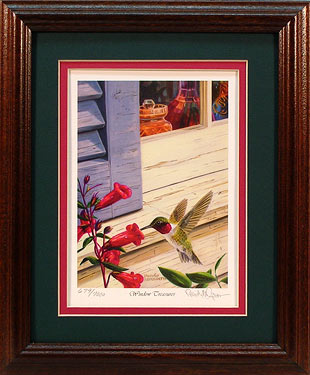"""Window Treasures"" - Hummingbird print by Artist Randy McGovern"