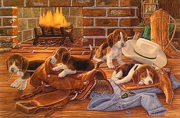 """The Wranglers"" - Beagle puppies by artist Randy McGovern"